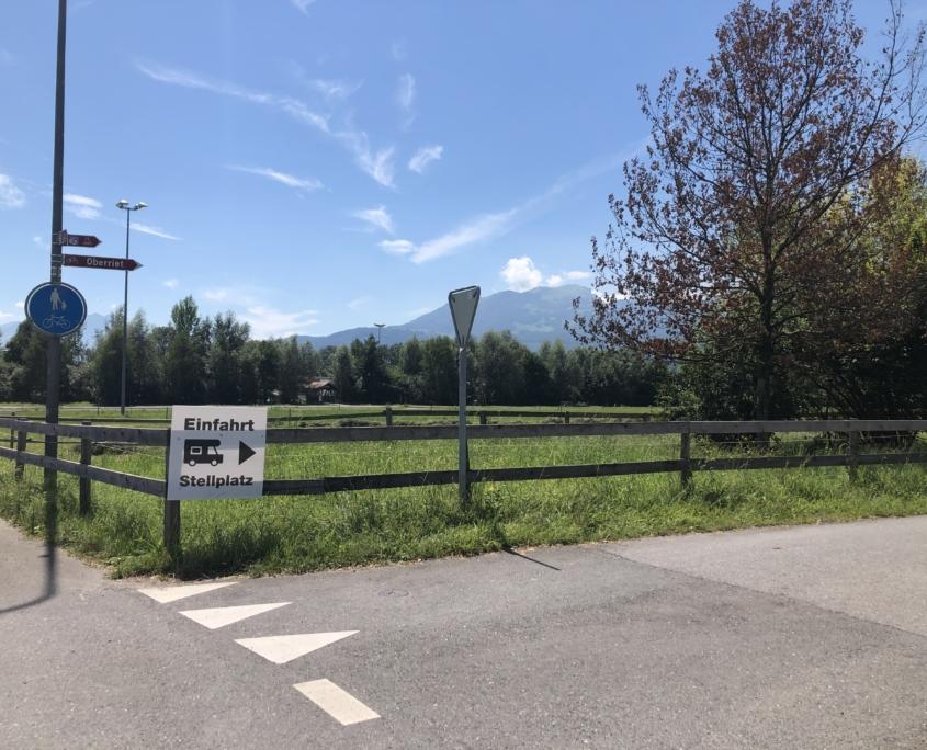 Einfahrt Stellplatz Richtung Oberriet